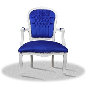 baroque armchair carved white laquere blue coating
