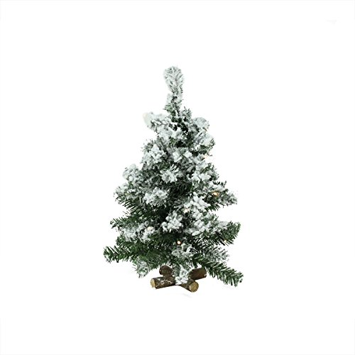 "20"" Pre-Lit Flocked Pine Battery Operated Artificial Christmas Tree - Warm Clear Led Lights"