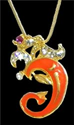 DollsofIndia Gold Plated and Stone Studded Om Pendant - Metal - Golden, Yellow