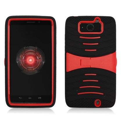 Cell Accessories For Less (Tm) For Motorola Droid Maxx Xt1080M Armor 3In1 W/Stand Black Skin+Red Pc + Bundle (Stylus & Micro Cleaning Cloth) - By Thetargetbuys