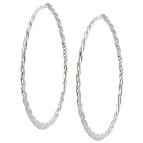 Sterling Silver 45-mm Braided Hoop Earrings