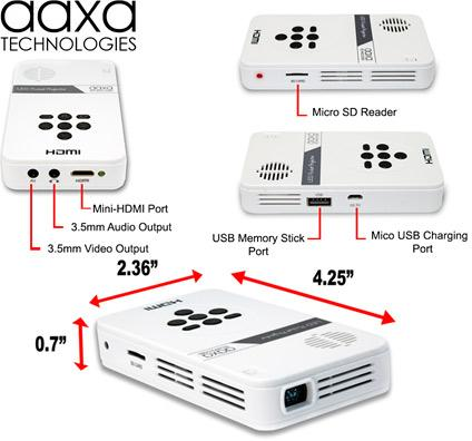 Aaxa led pico projector with 80 minute battery for Best pocket size projector
