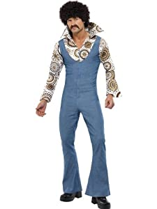 Smiffy's Men's Groovy Dancer Costume Jumpsuit with Attached Mock Shirt, Multi, Medium