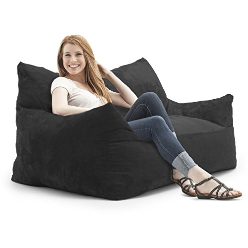 FufSack Memory Foam Imperial Loveseat Black Microfiber 5-foot Bean Bag (Micro Bag Toss compare prices)