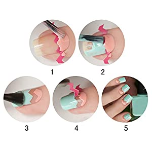 NICOLE DIARY French Nail Edge Guide Tips Nail Art Tools Manicure Set Nail Brush,U-shape Scissors,Line Edge Cutter with Stencil Stickers