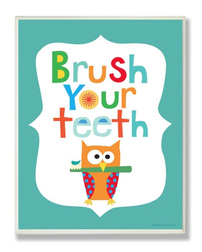 The Kids Room by Stupell Brush Your Teeth with Owl on Blue Background Rectangle Wall Plaque