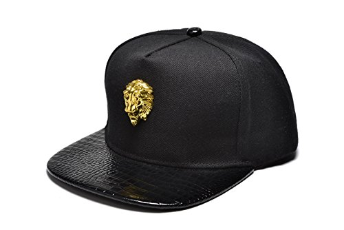 nuki-unisex-3d-metal-stud-adjustable-flat-bill-snapback-baseball-punk-cap-hatblack