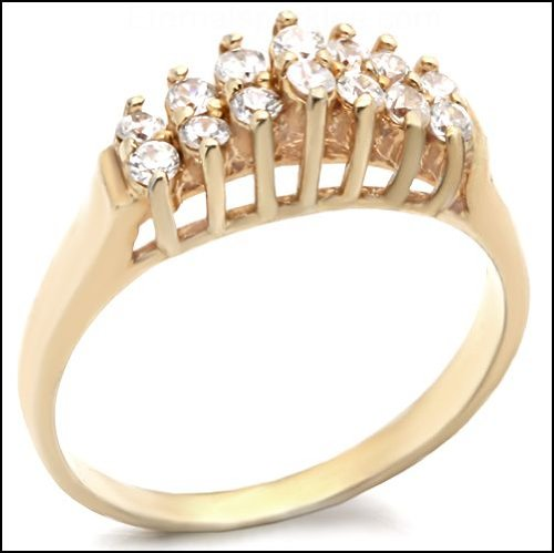Jewelry - Gold Tone Clear CZ Ring - SZ 8