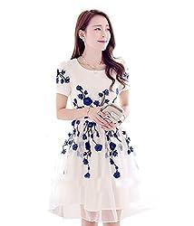 Om Creation Women's Dress (om-102005_Free Size_white)