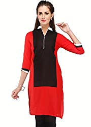 Awesome Fab Red Color Cotton Fabric Women's Straight Kurti