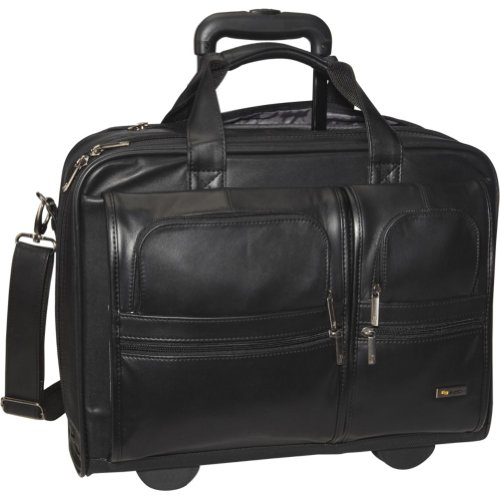 Solo Classic Collection Leather Rolling Laptop Case, Check-Fast Airport Security-Friendly Holds Laptop up to 15.6 Inches, Black (D957-4)