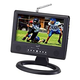 "Supersonic SC-499D 9"" LCD Portable Digital TV with AC/DC Adapter and Rechargeable Battery"