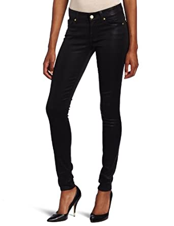 7 For All Mankind Women's The Skinny Jean in High Shine Gummy Black, High Shine Black, 31