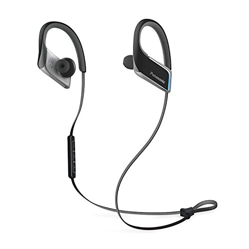 Panasonic WINGS Best in Class Wireless Bluetooth In Ear Earbuds Sport Headphones with Mic + Controller and Flashing LED's RP-BTS50-K (Jet Black) with Travel Case, iPhone, Android Compatible