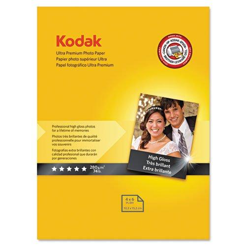 Kodak Ultra Premium Photo Paper, 10 mil, High-Gloss, 4 x 6,