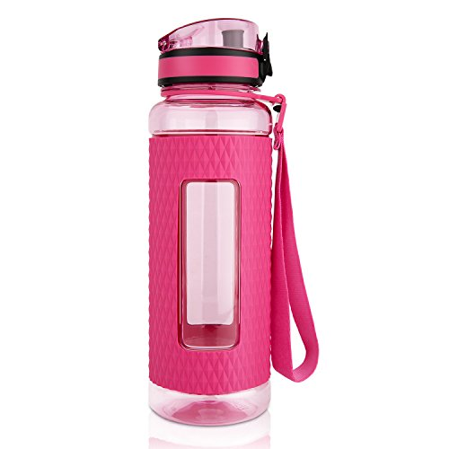 TALONITE Water Bottle With Leak Proof Flip Top Lid - 32 or 22 Oz - Eco Friendly & Non Toxic BPA Free Tritan Plastic Water Bottles with Silicone Sleeve for Gym Yoga Running Hiking Cycling and Camping (Plastic Water Bottle Straw compare prices)