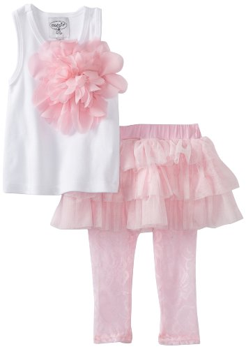 Mud Pie Baby-Girls Newborn Rosette Skirt And Tank Set, Pink, 9-12 Months (Mud Pie White Lace Leggings compare prices)