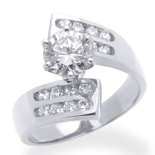 Little Treasures 14 ct White Gold Engagement Ring 1ctw CZ Cubic Zirconia Solitaire Ring