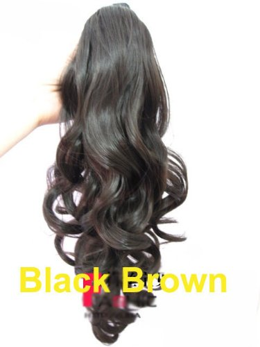 LOLI(TM)Long Wavy Curly Ponytail Pony Wig Hair Piece Extensions Black Brown