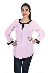 Iande Pink-Black Plain Georgette Top