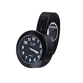"Aunoc 7/8"" 1"" Motorcycle Handlebar Chrome Black Dial Clock For Harley Chopper Touring"
