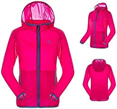Outdoor Summer Camping Hiking Multi-Colors 100 Tactel Women Sun Protection UPF40 Skin Jackets - Fuch