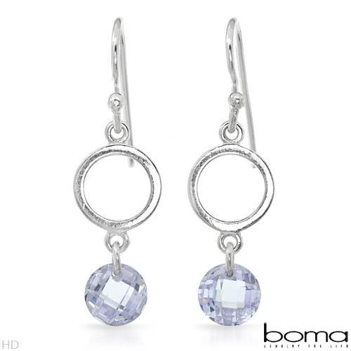 BOMA Stylish Earrings With 2.10ctw Cubic zirconia Crafted in 925 Sterling silver Length 28mm