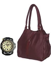 Arc HnH Women HandBag + Watch Combo - Contemporary Maroon Handbag + Sports Black Watch