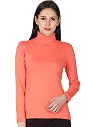 Hypernation Coral Color Casual High Neck T-Shirts For Women