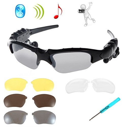 WONFAST® Black Bluetooth Sunglasses Sun Glasses Music Handsfree Headset Headphones for Smart Phone PC Tablet IPHONE6 /6 PLUS Samsung HTC Bluetooth devices + Free Replaceable 3 pair lens (Yellow,Brown,Clear)
