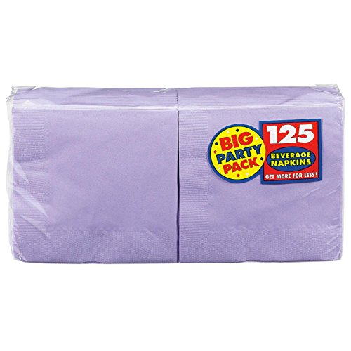 Amscan Big Party Pack 125 Count Beverage Napkins, Lavender - 1