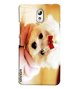 Omnam White Cute Little Puppy Giving Pose Printed Designer Back Cover Case For Lenovo Vibe P1 M