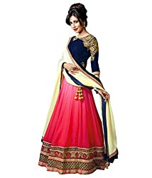 Sky Global Pink & Blue Georgette & Net Embroidered Semi-stitched Lehenga Choli (Lehnga_115_Free Size_Pink&Blue)