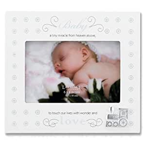 Lawrence Frames Cream and Blue Polka Dot 4 by 6-Inch Picture Frame, Baby and Train Design
