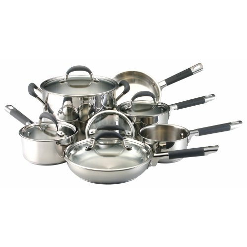 Farberware Accents 10-Piece Cookware Set, Silver | Cookware Sets