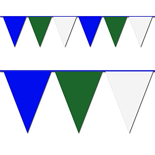 Blue, Green and White Triangle Pennant Flag 100 Ft. (Heavy Duty Flag Streamers compare prices)