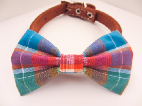 Scottish Plaid - Dog or Cat Handcrafted Slide-On Bow Tie Collar Accessory (Collar Not Included)