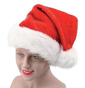 Santa Hat (plush with glitter) - Red/White