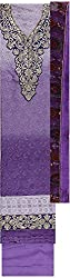 Preety Women's Faux Georgette Unstitched Dress Material (PW065, Purple)