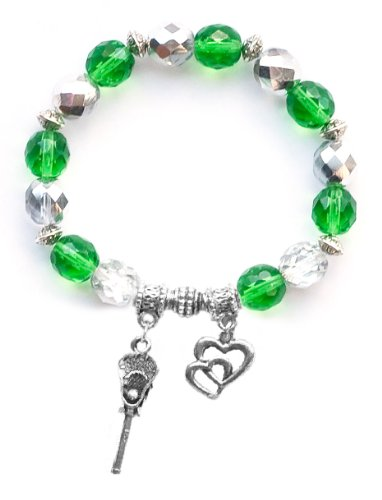 """Lacrosse Stick & Ball"" Girls Lacrosse Bracelet (Team Colors Kelly Green & Silver)-Medium"