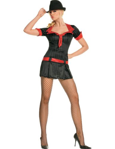 Adult-Costume Gangsta Lady Lg Black And Red Halloween Costume