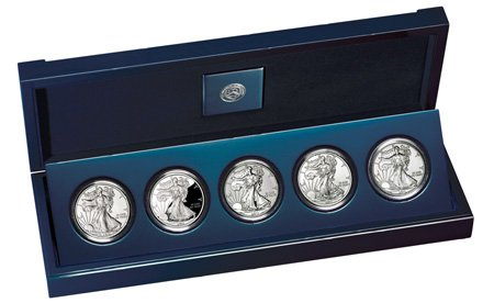 2011 25th Anniversary Silver American Eagle 5-coin Set (A25)