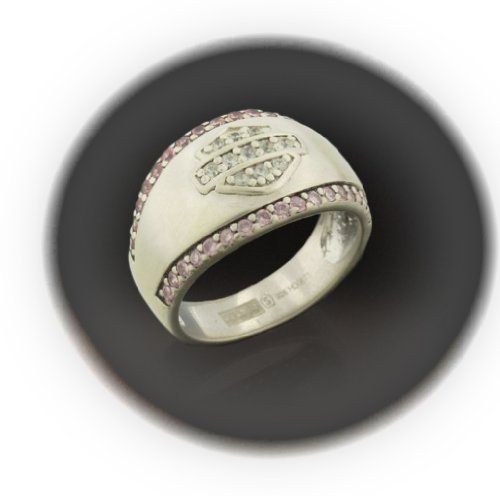 Harley-Davidson® Stamper® Women's Sterling Silver Ring. White and Pink Cubic Zirconia's. Satin Finish. RCR0004 (7)