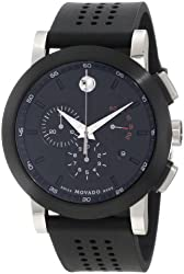"""Movado Men's 0606545 """"Museum"""" Perforated Black-Rubber Strap Sport Watch"""