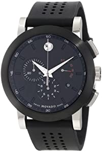 MOVADO 606545 606545 UNISEX BLACK RUBBER STAINLESS STEEL CASE WATCH
