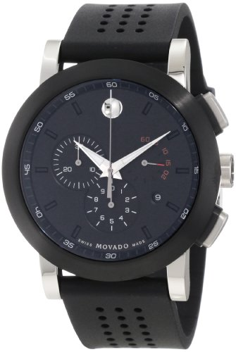 "Movado Men's 0606545 ""Museum"" Perforated Black Rubber Strap Sport Watch"