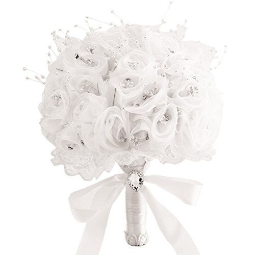 Zebratown 10 inch White Crystal Roses Pearl Bridal Bridesmaid Wedding Bouquet Artificial Silk Flowers (Ivory)
