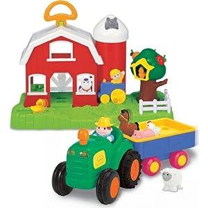 Kiddieland Farm & Tractor Set with 5 Farm Animals & 1 Farmer Figure