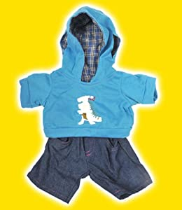 """Dinosaur"" Hoodie w/Jeans Teddy Bear Clothes Outfit Fits Most 14"" - 18"" Build-a-bear, Vermont Teddy Bears, and Make Your Own Stuffed Animals"