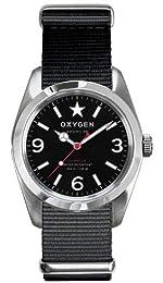 Oxygen Washington 38 Unisex Quartz Watch with Black Dial Analogue Display and Black Nylon Strap EX-S-WAS-38-BL